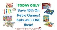 TODAY ONLY! Save 40% on Retro Games! Kids Will Love Them!
