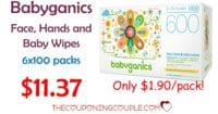 Babyganics Face Hands n Baby Wipes - 6 x 100 ct Packs for $11.37 Shipped!