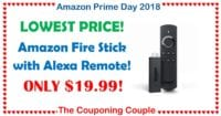 HOT PRICE! Fire TV Stick with Alexa Voice Remote - Only $19.99!